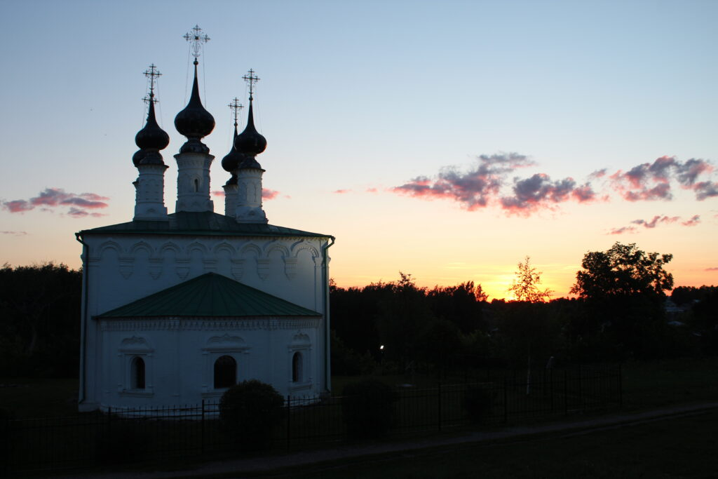 church in Suzdal during sunset