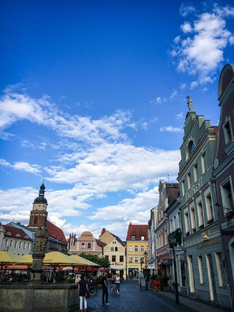 Martkplatz Cottbus with its Barocue facades can be visited on a day trip from Berlin