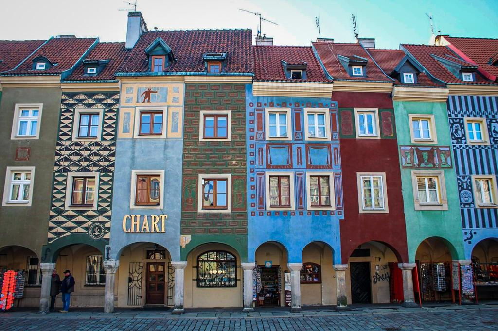 colorful houses on the square in Poznan
