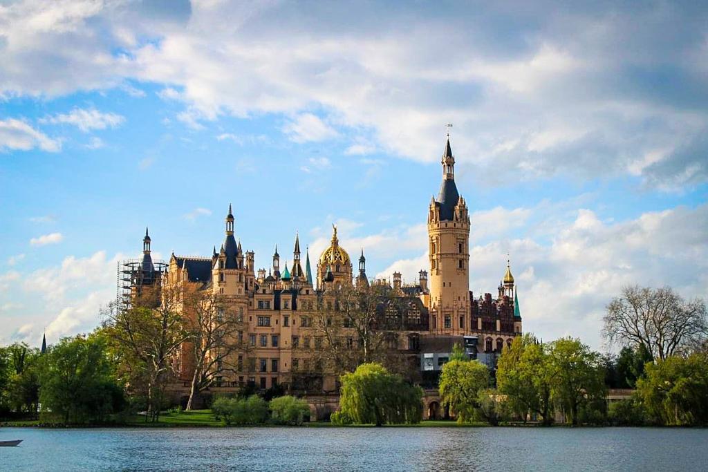 Schwerin Castle is located on an island in Lake Schwerin
