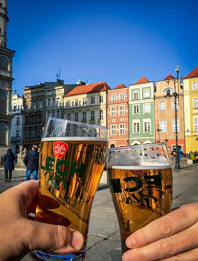 Enjoy a cold beer at the old market square in Poznan Old Town (Poznan Stare Miasto)