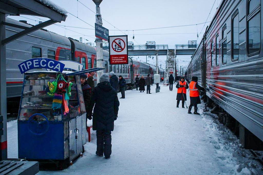 Life on the platform during a stop with the Trans-Siberian railway