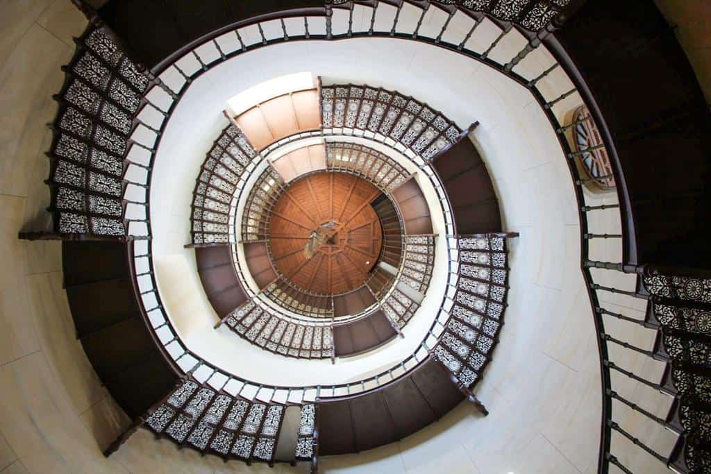The staircase to the tower of Jagdschloss Granitz on Rügen Island