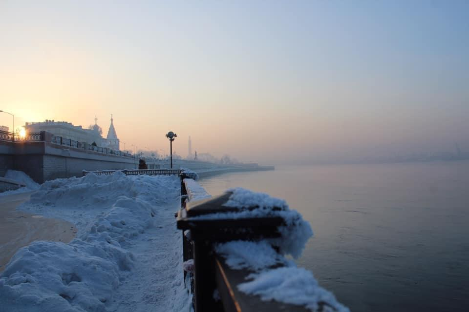 The river floating through a winter cold Irkutsk