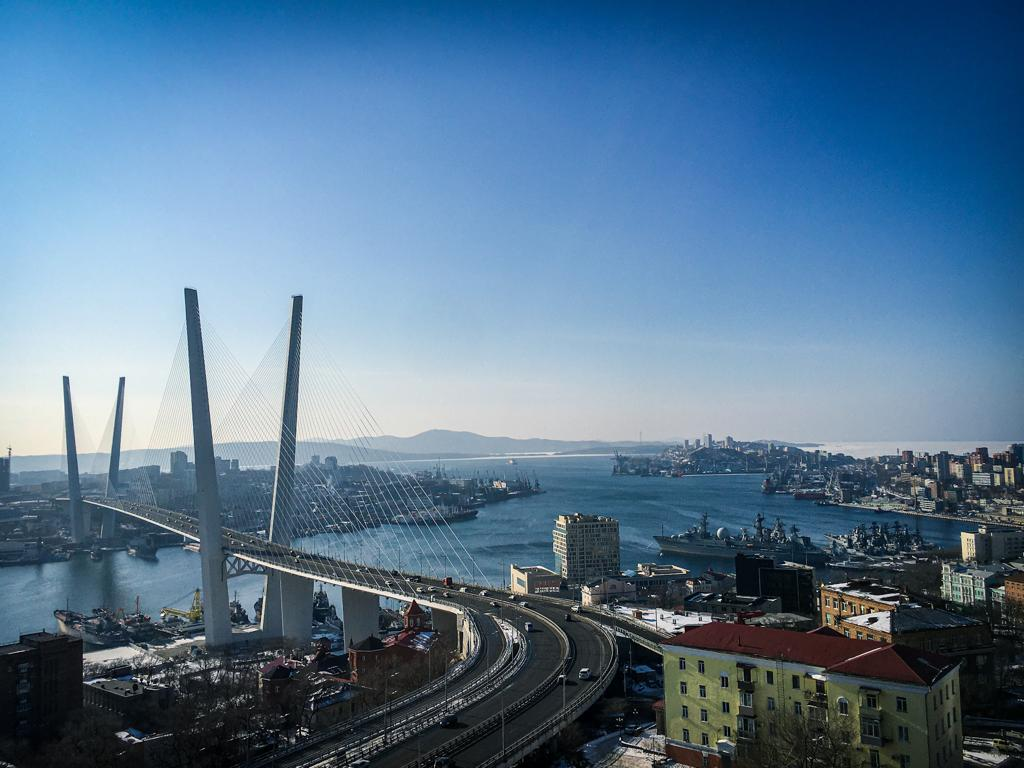 View over Vladivistok harbour with its modern bridge