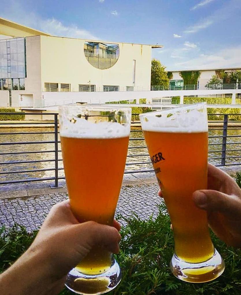 Zollpackhof Beer Garden is located next to River Spree